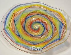 Hand Blown Glass Art Wall Bowl Platter By Dirwood Murano Aqua Red Gold Blue