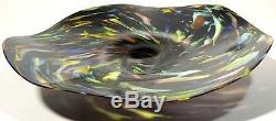 Hand Blown Glass Art Wall Bowl Platter By Dirwood Murano Style End Of Day Glass
