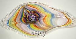Hand Blown Glass Art Wall Bowl Platter, By Dirwood, Murano Style, Rainbow Colors