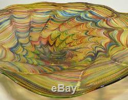 Hand Blown Glass Art Wall Bowl Platter, Dirwood, Murano Style, End Of Day Glass