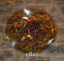Hand Blown Glass Art Wall Bowl Platter End Of Day Glass Murano Style By Dirwood