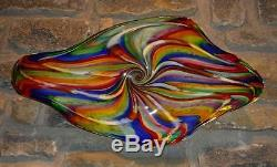 Hand Blown Glass Art Wall Bowl Platter Murano Style Made With Canes Dirwood