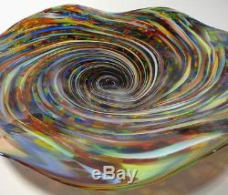 HAND BLOWN GLASS ART WALL BOWL/TABLE PLATTER DIRWOOD END OF DAY RED GOLD AQUA