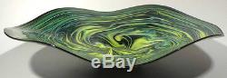 HAND BLOWN GLASS ART WALL BOWL/TABLE PLATTER DIRWOOD GREEN AQUAMARINE AND BLACK
