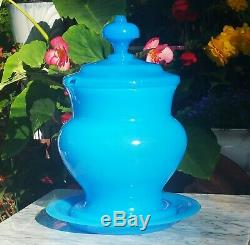 HUGE! OPALINE antique french light blue plate vtg art glass party punch bowl