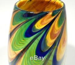 Hand Blown Glass Art Bowl/vase, Dirwood, Complex Glass Cane Process, Gold Sparks