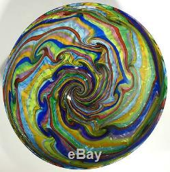 Hand Blown Glass Art Bowl/vase, Dirwood, Murano Italian Glass Cane Process