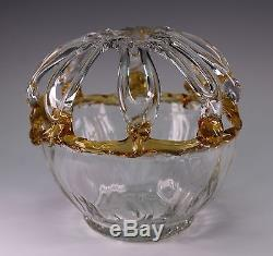 Hand Blown Murano Art Glass Amber Clear Gold Web Bowl Flower Frog Vase