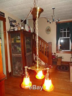 Hanging Brass Chandelier with 3 Steuben Glass Gold Aurene Bowl Lamp Shades