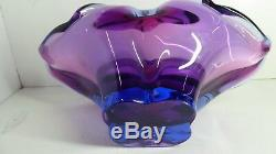 Heavy Free Form Murano Art Glass Bowl Beautiful MID Century Italian Design
