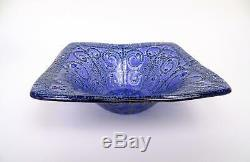 Higgins Signed Fused Art Glass Curly Free Form Blue And Lavender 7 Square Bowl