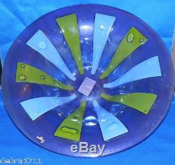 Higgins signed 12 SIAMESE Art Glass Bowl Blue/Green/Purple midcentury mod