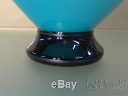 Ibex Glass Studio Art Glass Blue Center Bowl WithRed Edge-1989