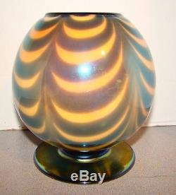 Imperial Freehand Free Hand Art Glass Blue Drag Loop Rose Bowl Ball Vase