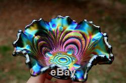 Imperial SCROLL EMBOSSED ANTIQUE CARNIVAL ART GLASS BERRY BOWLELECTRIC PURPLE