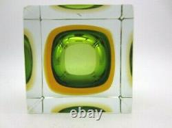 Italian geometric art glass brick bowl Murano Sommerso green in amber withlabel