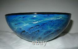 JOSH SIMPSON Blue New Mexico ART GLASS Bowl signed & dated 1998 8&1/2