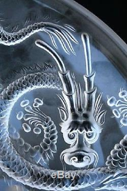Josef Inwald Frosted Glass Dragon Charger Bowl Lalique / Verlys Style C. 1900 D