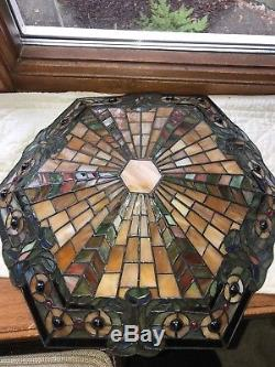 KICHLER Tiffany Style Art stained Glass Bowl Shade 18 Art deco style Vintage