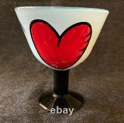 Kosta Boda Ulrica Vallien Art Glass HEARTS Tall Footed Bowl or Compote