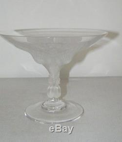 Lalique Crystal France Virginia Peacock Compote Bowl Signed Excellent