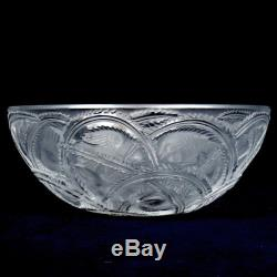 LALIQUE FRANCE SIGNED 9.25D PINSONS FRUIT BIRD CLEAR FROSTED CRYSTAL BOWL