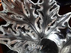 Lalique France Signed Huge Champs-elysees Centrepiece Bowl Frosted Leaves