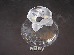 LALIQUE France Clear Frosted Crystal Art Glass Compote Bowl withSparrow Bird Base