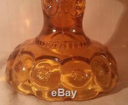 LARGE 12.5 vtg amber compote art glass moon & stars candy bowl apothecary jar