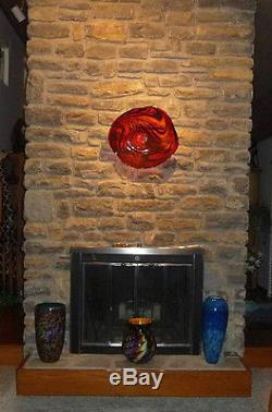 LARGE 21 HAND BLOWN GLASS ART WALL BOWL PLATTER RED AND BLACK DIRWOOD