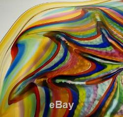 Large 22 Hand Blown Glass Art Wall Bowl Platter By Dirwood, Murano Style