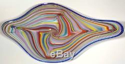 Large 28 Hand Blown Glass Art Wall Bowl Platter By Dirwood Murano Cane Style