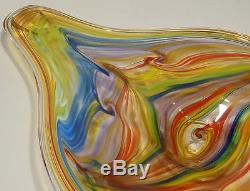 Large 29 Hand Blown Glass Art Wall Bowl Platter By Dirwood Murano Style