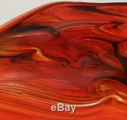 Large 29 Hand Blown Glass Art Wall Bowl Platter Red Black Murano Style Dirwood