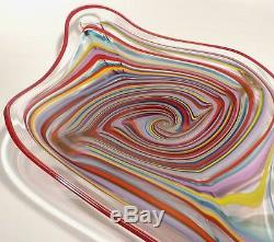 Large 34 Hand Blown Glass Art Wall Bowl Platter By Dirwood Murano Cane Style