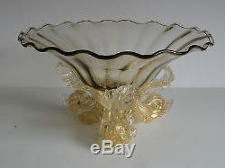 LARGE Barovier Murano Venetian Glass 3 DOLPHIN Centerpiece Bowl 13 Gold Leaf