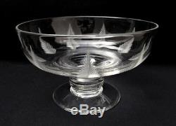 LARGE FOOTED 1930s ART DECO STUART ENGLAND CUT CRYSTAL WOODCHESTER FERN BOWL