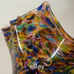 Large Hand Blown Glass Art Vase/bowl Murano End Of Day Glass By Dirwood