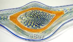 Large Hand Blown Glass Art Wall Bowl Platter By Dirwood Murano Cane Incalmo