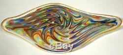 Large Hand Blown Glass Art Wall Bowl Platter By Dirwood, Murano Italian Style