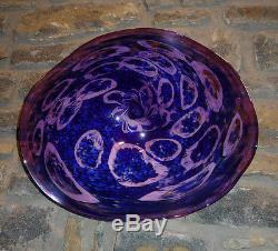 Large Hand Blown Glass Art Wall Bowl Platter Shades Of Purple And Blue