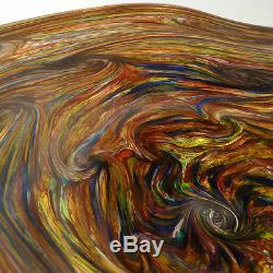 LARGE HAND BLOWN GLASS ART WALL BOWL/TABLE PLATTER DIRWOOD END OF DAY GOLD SPARK
