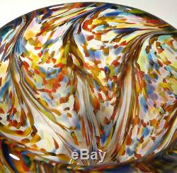 LARGE HEAVY THICK HAND BLOWN GLASS ART BOWL/VASE DIRWOOD ITALIAN END OF DAY