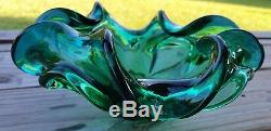 LARGE! Murano Green Art Glass Bimorphic Ashtray Bowl, 8 1/2 Wide BEAUTIFUL MCM