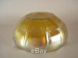 LARGE SIGNED 7 1/4 L. C. T. TIFFANY FAVRILE GLASS BOWL WITH DISPLAY STAND