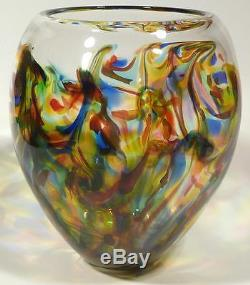 Large Thick & Heavy Hand Blown Glass Art Bowl/vase Murano Style By Dirwood