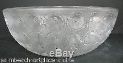 LARGE Vintage French crystal Lalique Nemours bowl signed