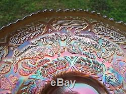 LARGE! WOW! FENTON LITTLE FISHES FISH Carnival Glass Bowl IRIDESCENT ART ANTIQUE