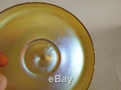 LOUIS COMFORT TIFFANY FAVRILE GOLD ART GLASS FINGER BOWL with UNDERPLATE