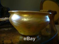 Lovely Vintage Signed Lct Favrile Iridescent 6.75 Footed Bowl